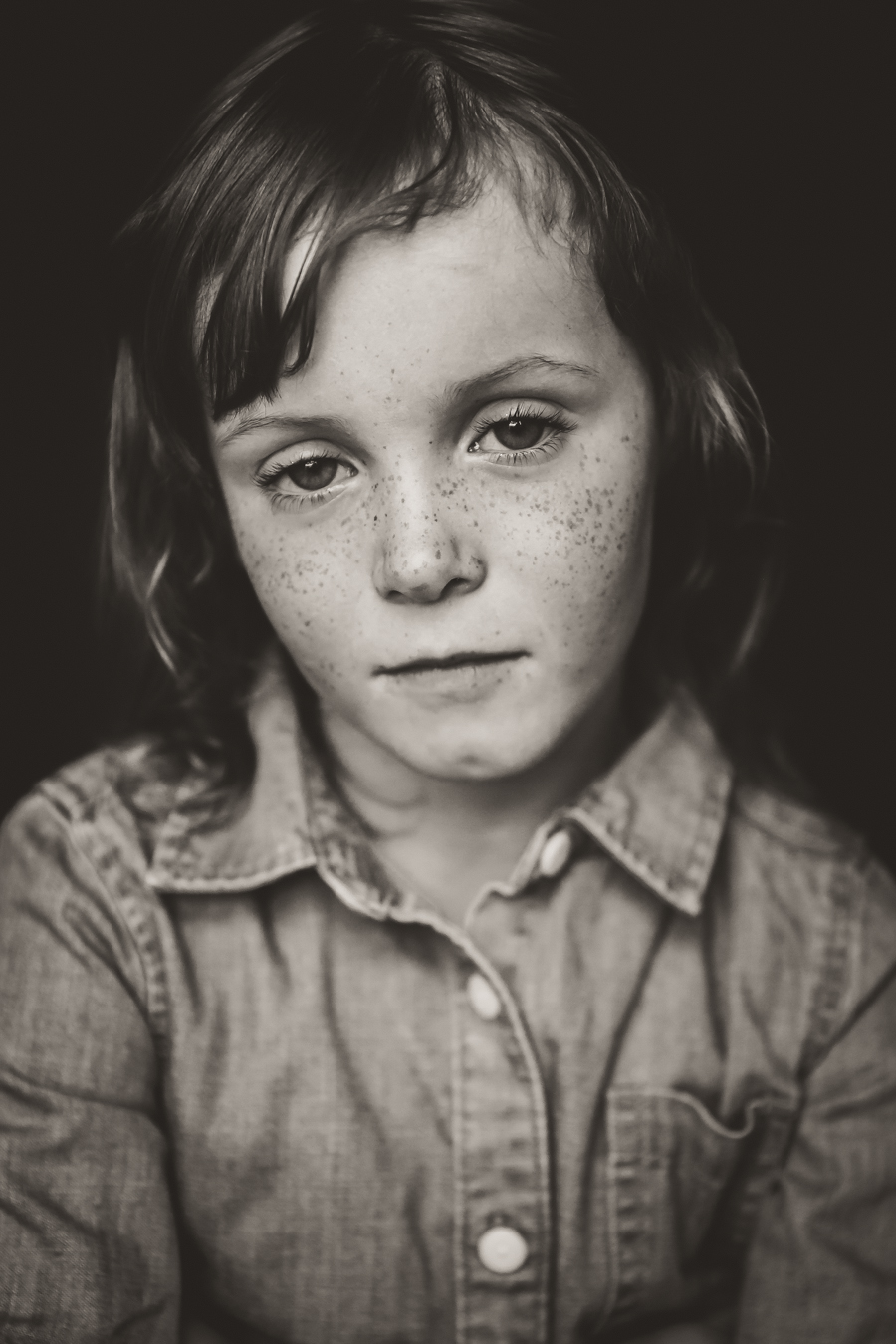 black and white kid portraits