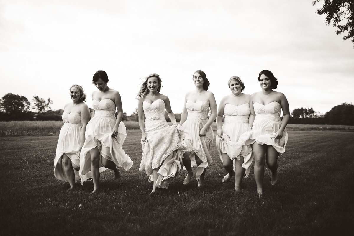 bridesmaids black and white