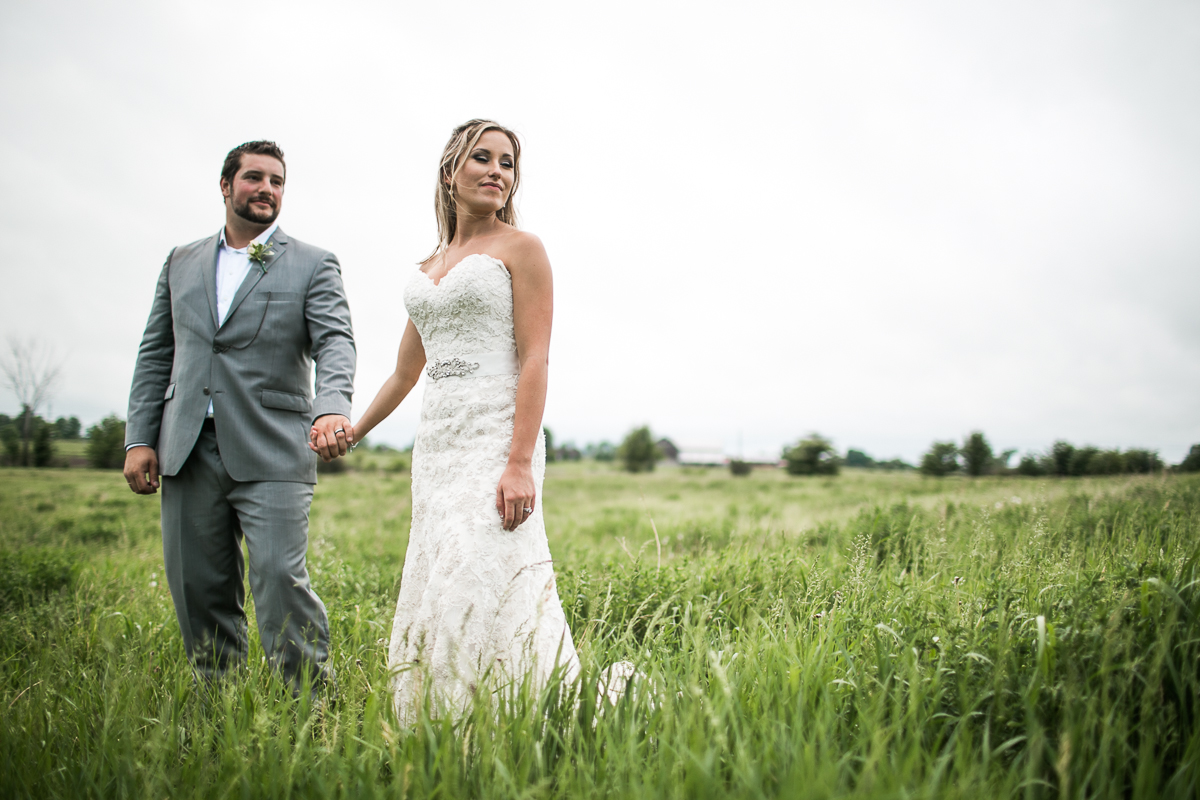 bride and groom field