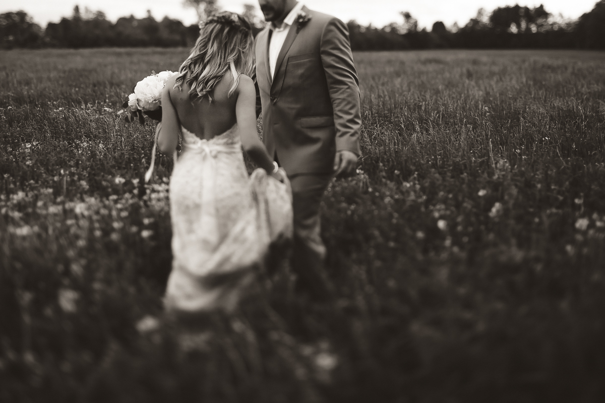 bride and groom in feild