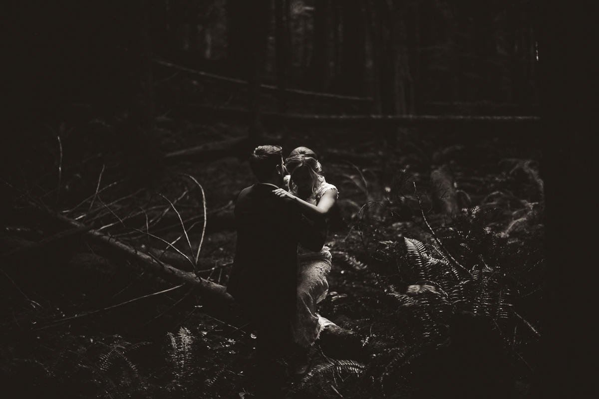 sunshine coast elopement-bride and groom in forest