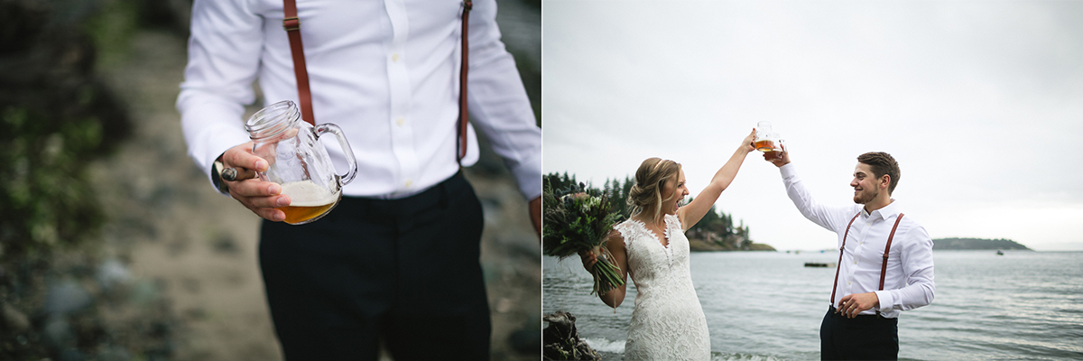 sunshine coast elopement-beer on the beach
