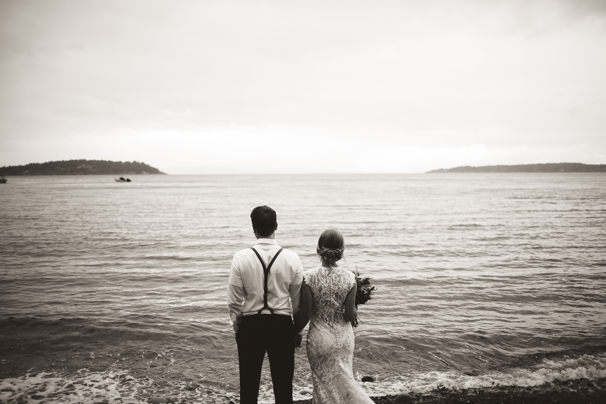 sunshine coast elopement-bride and groom beach black and white