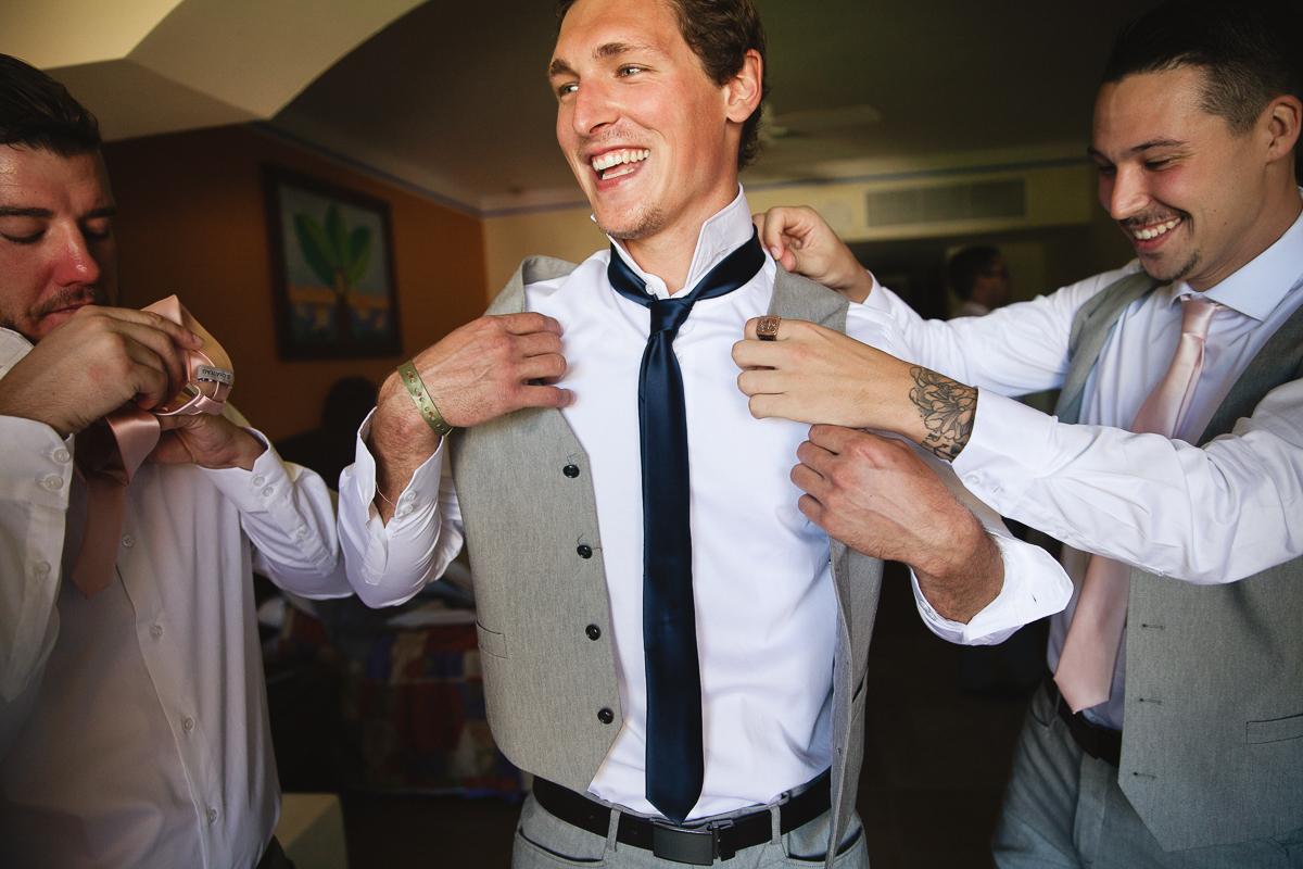 guys getting ready mexico wedding