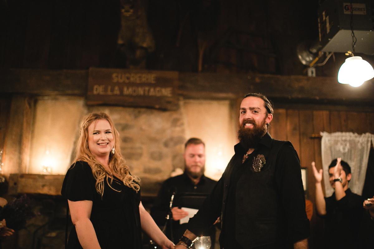Sucrerie De La Montagne wedding photographer candlelit ceremony