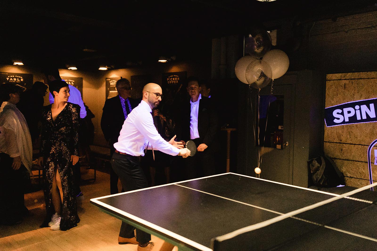 wedding at the spin ping pong bar