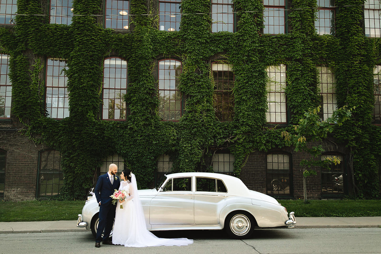 Wedding Portraits downtown Toronto old car