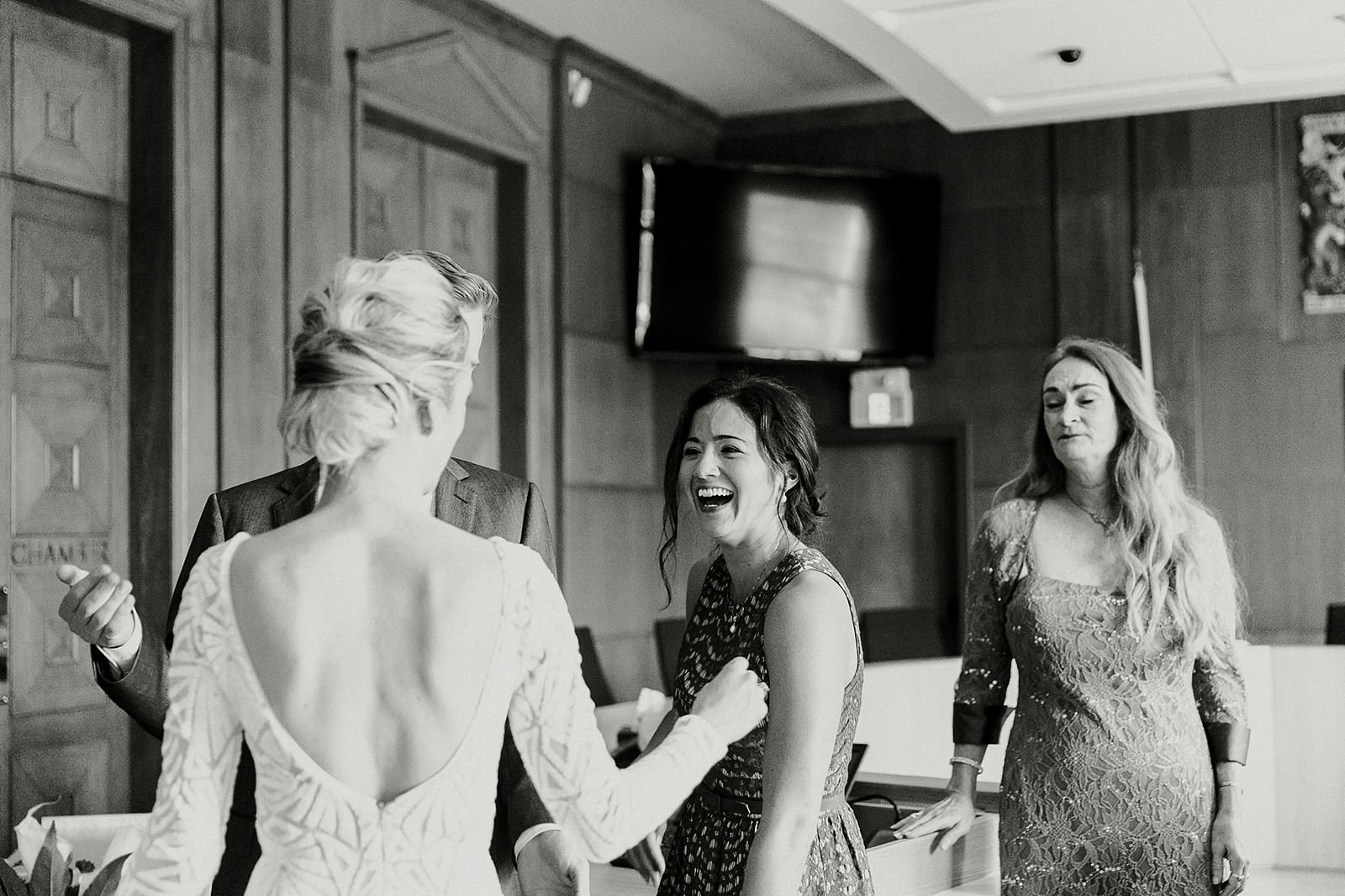 intimate city hall wedding