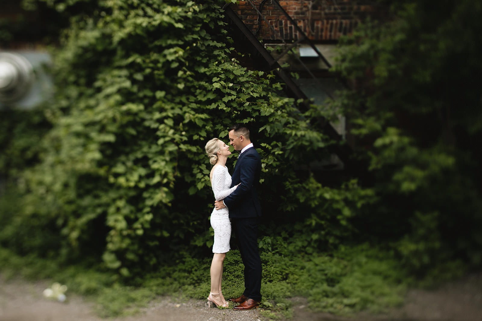 intimate city hall wedding bride and groom portraits