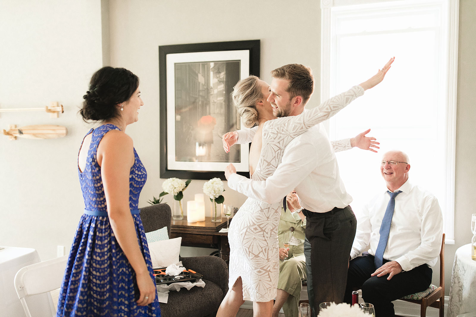 intimate city hall wedding bride and groom reception at home