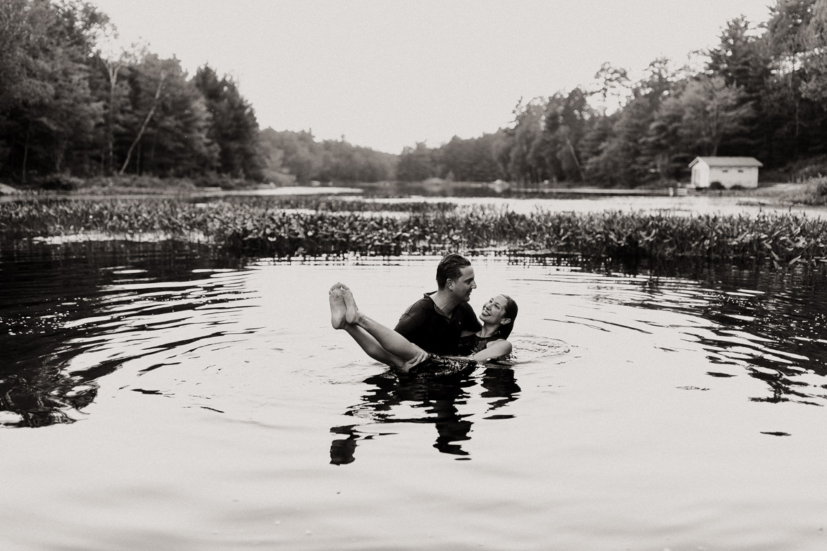 swimming engagement photography