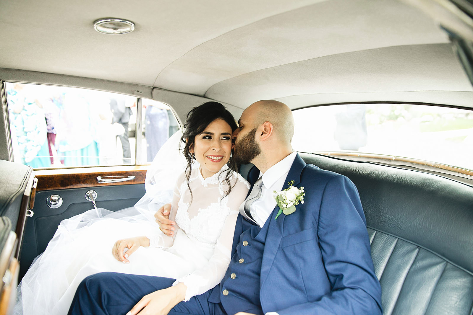 couple in old car on wedding day toronto